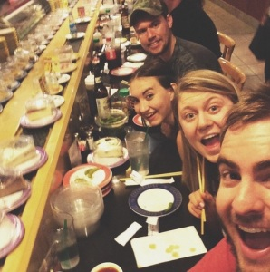 Celebrate with friends and family too! Check out this revolving sushi bar we enjoyed with my in-laws yesterday!